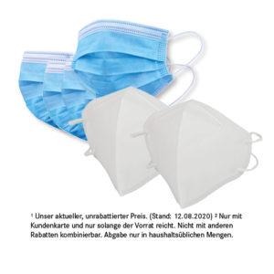 2 x FFP2-KN95 Masken<br>für nur 5,99 €²<br>10 x Mund-Nasen-Schutz<br>für nur 4,99 €²