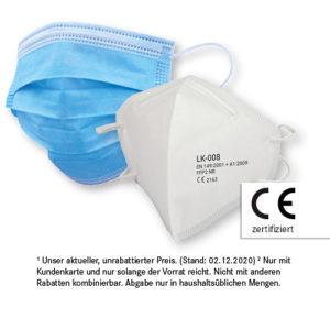 FFP2 Maske<br>für nur 3,49 €²<br>10 x Mund-Nasen-Schutz<br>für nur 3,99 €²